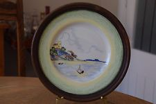 CLARICE CLFF CRAYON SCENE PLATE WITH WOODEN FRAME CIRCA 1934 Clarice Cliff, Wooden Frames, Decorative Plates, Scene, Ceramics, Ebay, Shopping, Ceramica, Pottery