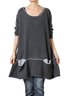 Vogstyle Women's Plus Size Knitting Cotton Sweater Grey L…