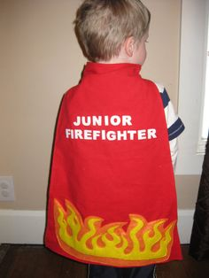 Custom Firefighter Cape by SweetBabyShoppe on Etsy 4th Birthday Parties, Fire Engine, Firefighter, Cute Kids, Cape, Birthdays, Engineering, Sewing, Halloween