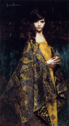 """Juana Romani (1869-1924)  Portait De Jeune Fille  Oil on panel  1891  61 x 131 cm  (24.02"""" x 4' 3.57"""")  Public collection"""