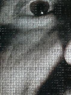 WORDSCREATUREWORDS 2 (detail) - 2014 (typewriter ink on creature picture portrait) - twitter.com/ragnoxxx #contemporaryart #artecontemporanea #conceptualart #visualart #arte #artecontemporaneo #artcontemporain #zeitgenössischekunst #photografy #kunst #artcollectors #art #contemporaryphotografy #artgallery #cosegiaviste #installation #artexhibition
