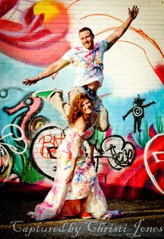 Trash The Dress with paint!  Love graffiti too!