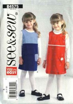 Butterick Sewing Pattern 4575 Girls Size 6-7-8 Easy A-Line Jumper
