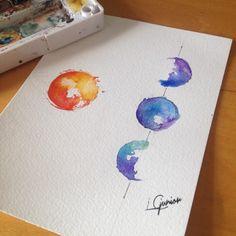 watercolor moon tattoo - Google Search