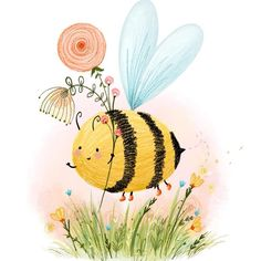 Bee in boots! Bee in boots! Illustration Inspiration, Children's Book Illustration, Bumble Bee Illustration, Bee Drawing, Bee Painting, Cute Bee, Bee Art, Happy Paintings, Rock Art