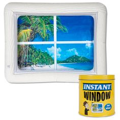 Stuck in an office or cubicle with no windows? No problem! Just blow up the Instant Inflatable Window and hang it on a wall to transform your space from dreary to cheery! Each window features a spectacular view of a remote tropical beach.
