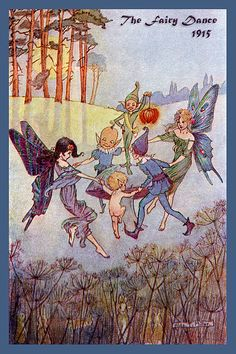 The Fairy Dance by Hilda Miller from 1915. Quilt Block of vintage fairy image printed on cotton. Ready to sew.  Single 4x6 block $4.95. Set of 4 blocks with pattern $17.95.