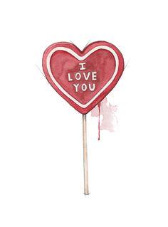 """""""Kjærlighet"""" (Lollipop heart)  Copyright: Emmeselle.no   illustration by Mona Stenseth Larsen"""