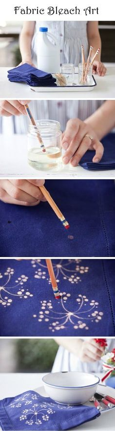 use bleach + a pencil to stamp designs on fabric