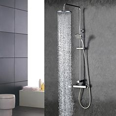 Sprinkle® Contemporary Chrome Finish Widespread Two Handles Rainfall Shower Faucet - USD $ 259.99