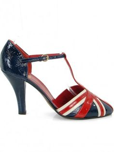 Love Moschino Shoes - Patent British Flag T-Strap Pumps for the Anglophile in me. :)