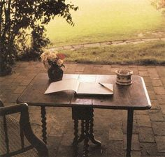 Virginia Woolf's writing table at Monk's House, Sussex, England, 1967