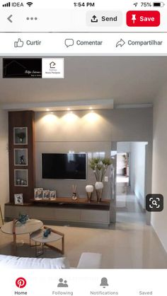 Tv Unit Furniture, Modern Bedroom Furniture, Living Room Interior, Living Room Decor, Tv Wall Shelves, Tv Wall Cabinets, Tv Shelf, Tv Cabinet Design, Tv Wall Design