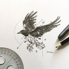 Tattoo • Drawing • Raven by Kerby Rosanes •
