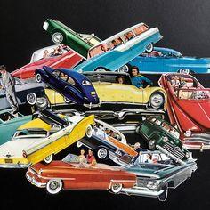 0556de110ede6 1940-50s BANANASTRUDEL INGREDIENTS - 15-pc. Pack of Handcut Cars    Automobiles. Ephemera Pack. Junk Journal   Art   Collage Supplies