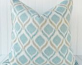 Decorative Pillow Ikat Baby Blue Turquoise Teal Chartreuse