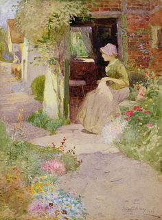 A Girl Sewing at the Door of a Cottage, Thomas Mackay