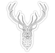 Christmas deer head abstract geometric pattern by beakraus