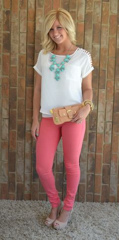 skinny jeans, delicate top, pop of color statement necklace - perfect outfit! I need me some cute shoes like that