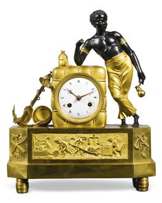 """c1810 An Empire ormolu and patinated bronze """"au matelot"""" mantel clock, French, circa 1810  Estimate  5,000 — 7,000  GBP  8,383 - 11,736USD   LOT SOLD. 12,500 GBP (20,956 USD) (Hammer Price with Buyer's Premium)"""
