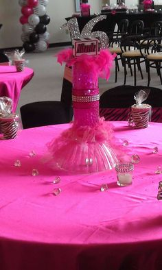 Pink & Zebra Sweet 16 Birthday Party table!  See more party planning ideas at CatchMyParty.com!