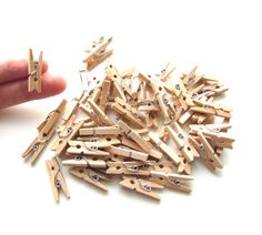 20 Mini pegs natural wood 25mm - Little wooden pegs memo clips - Mini wood clothespins - Little pegs - Wood mini clips - Small pegs wood by BrightonBabe on Etsy