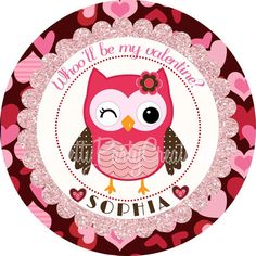 Pink & red owl valentine  - to customize from   PrettyPartyCreations/Etsy