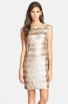 Free shipping and returns on Adrianna Papell Sequin Sheath Dress at Nordstrom.com. A cap-sleeve cocktail sheath is seemingly gilded with sequins in a striped pattern. The two-way zipper in back lets you fine-tune the fit.