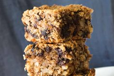 Gluten free oatmeal squares make for a healthy snack or breakfast on the go. These squares offer a complexity of taste and texture because of the added almonds, coconut and raisins. And making the recipe in a food processor keeps the work time to a minimum. Enjoy!