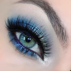 Silver Blue Eye Makeup. A fun but sophisticated look with Tiffany Designs dress