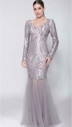 vestido de festa com manga longa brilho