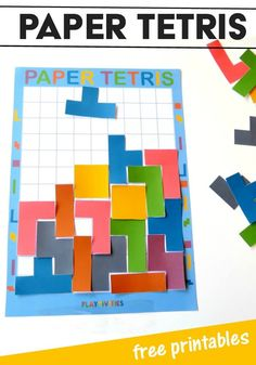 DIY Paper Tetris The Whole Family Will Want To Play This DIY Paper Tetris is an awesome boredom buster game. It boosts creativity, encourages thinking for kids. It comes with free paper tetris printables Playdough Activities, Math Activities For Kids, Fun Math, Math Games, Steam Activities, Everyday Activities, Diy Games, Indoor Activities, Kids Learning