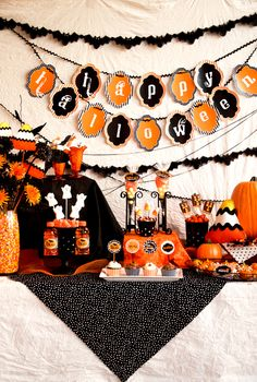 GREAT ideas for a Halloween party!!  No freebies or recipes, but the Jack O' Lantern Rice Krispie treats should be easily made using the picture sample.  Very creative person who designed this party theme for kids!