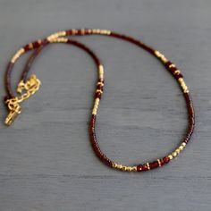 Garnet necklace January birthstone necklace garnet and gold Garnet Necklace, Diy Necklace, Gemstone Necklace, Necklace Designs, Necklace Ideas, Necklace Tutorial, Gold Necklace, Bridal Jewelry, Beaded Jewelry