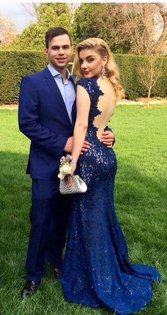 2017 prom dress, mermaid long prom dress, lace long prom dress, royal blue prom dress, navy blue prom dress