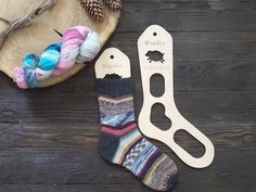 Wooden sock blockers / Sheep  High-quality sock blockers covered with waterproof varnish with smooth edges and a polished surface. Pattern – running sheep. Great for photos of any knitted socks.