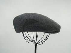 9ad5ee7c17f19 Grey Tweed Wool Men s Sixpence Hat - Flat Jeff Cap