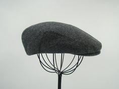 ac92aa52 Grey Tweed Wool Men's Sixpence Hat - Flat Jeff Cap, Ivy Cap, Driving Cap  for Men, Women, and Children