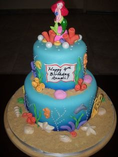 Sami needs this for her beach bday party-Little Mermaid Cake-so cute!!