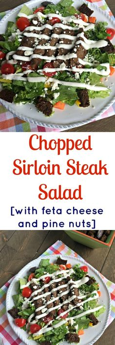 This Chopped Sirloin Steak Salad with Feta Cheese & Pine Nuts is an amazing combo of lean protein and tons of vegetables that will make you want to add it to your weekly meal rotation! Vegetable Recipes, Crockpot Recipes, Cooking Recipes, Healthy Recipes, Delicious Recipes, Vegetable Salads, Lamb Recipes, Turkey Recipes, Healthy Eats