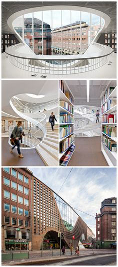 Helsinki University Main Library by Anttinen Oiva Architects University Architecture, Library Architecture, Education Architecture, Architecture Visualization, School Architecture, Architecture Design, Main Library, Library Design, Visit Helsinki