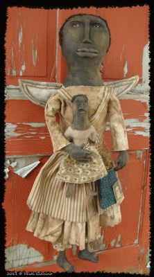 Prim Nest: Very Drab Primitive Folk Art Black Angel With Doll