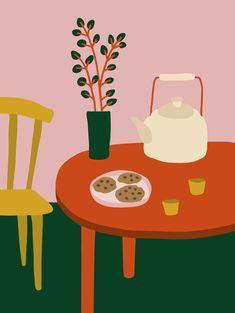 Tea time Chinese Tea, Lisa, Tea Time, Illustration, Lausanne, Instagram, Vegan, Cookies, Paper
