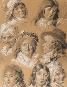 Louis-Léopold Boilly (1761–1845), Portraits of the Artist's Family and Servants. Black and white chalk, on light brown wove paper, 17 13/16 x 11 11/16 inches (450 x 297 mm)Thaw Collection, The Morgan Library & Museum