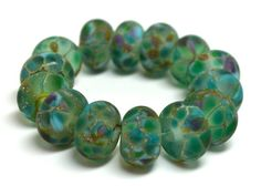 island of capri.... (6) SRA handmade, set of  lampwork beads in teal, aqua, lavender, great for making jewelry 123014-2