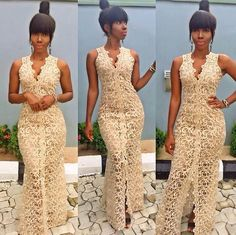 Look at this Trendy latest african fashion look Nigerian Lace Styles Dress, Nigerian Outfits, Nigerian Dress, African Lace Styles, African Lace Dresses, African Fashion Dresses, African Style, Nigerian Fashion, African Outfits