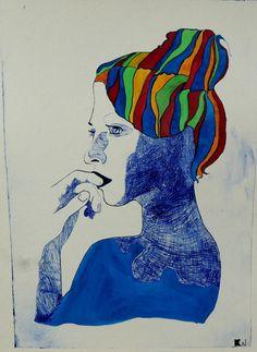 Portrait. plexiglas & watercolor a3