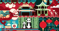 The capital of the Panda is with no doubt Chengdu. If you need more reason to visit the Chinese city then you should read the 24 hours in Chengdu article. Japan Facts, City Poster, Travel Ads, Mural Ideas, City Illustration, Chengdu, City Maps, Ad Design, Shanghai