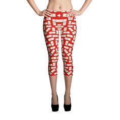 Printful Domino Tiles Capri Leggings Red