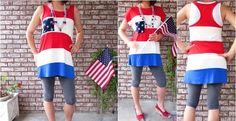 Made in USA Modal Patriotic block tunic | Jane